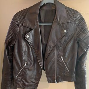 H&M dark brown leather biker jacket